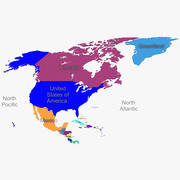 北美地图 3d model