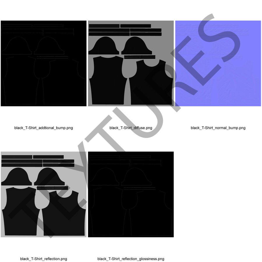 Czarny t-shirt royalty-free 3d model - Preview no. 22