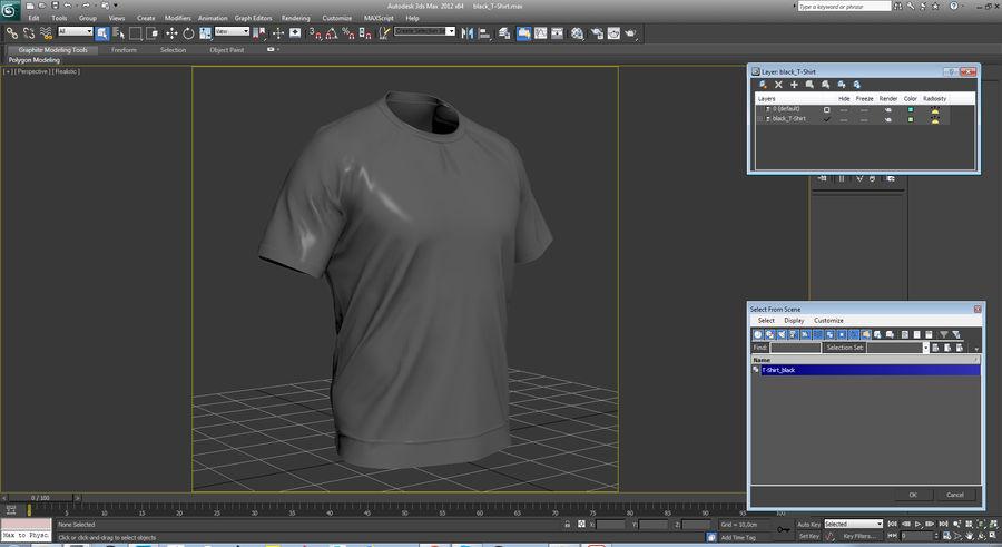 Czarny t-shirt royalty-free 3d model - Preview no. 23
