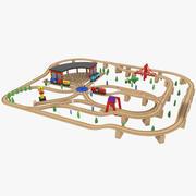 Hölzerne Spielzeugeisenbahn 3d model