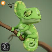 Cartoon Chameleon Character Rigged 3d model
