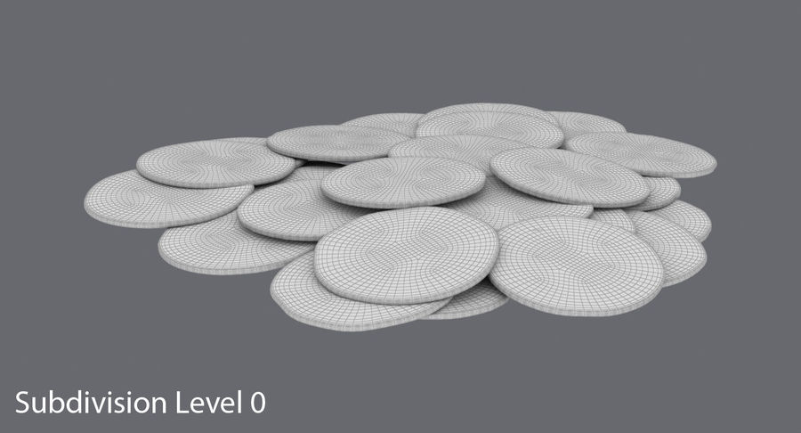 Gold Coins Dirty Pile royalty-free 3d model - Preview no. 12
