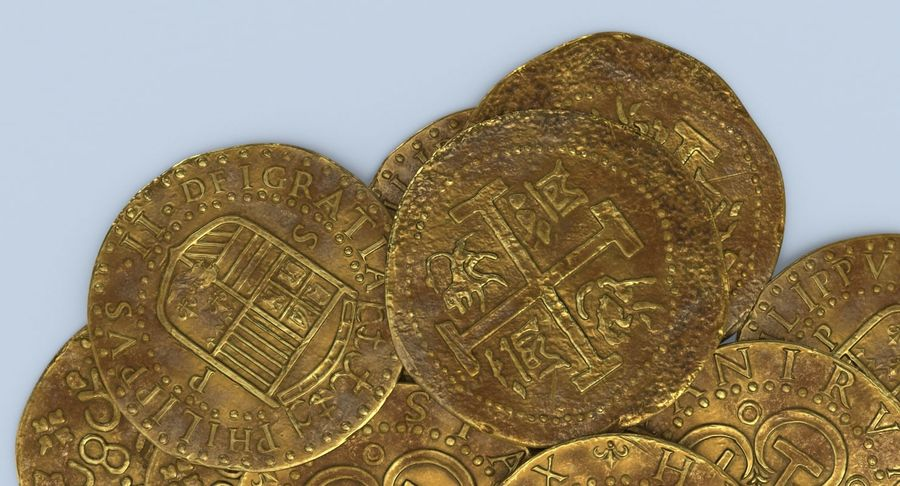 Gold Coins Dirty Pile royalty-free 3d model - Preview no. 8