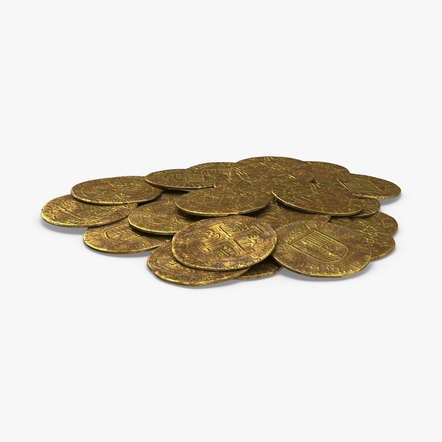 Gold Coins Dirty Pile royalty-free 3d model - Preview no. 1