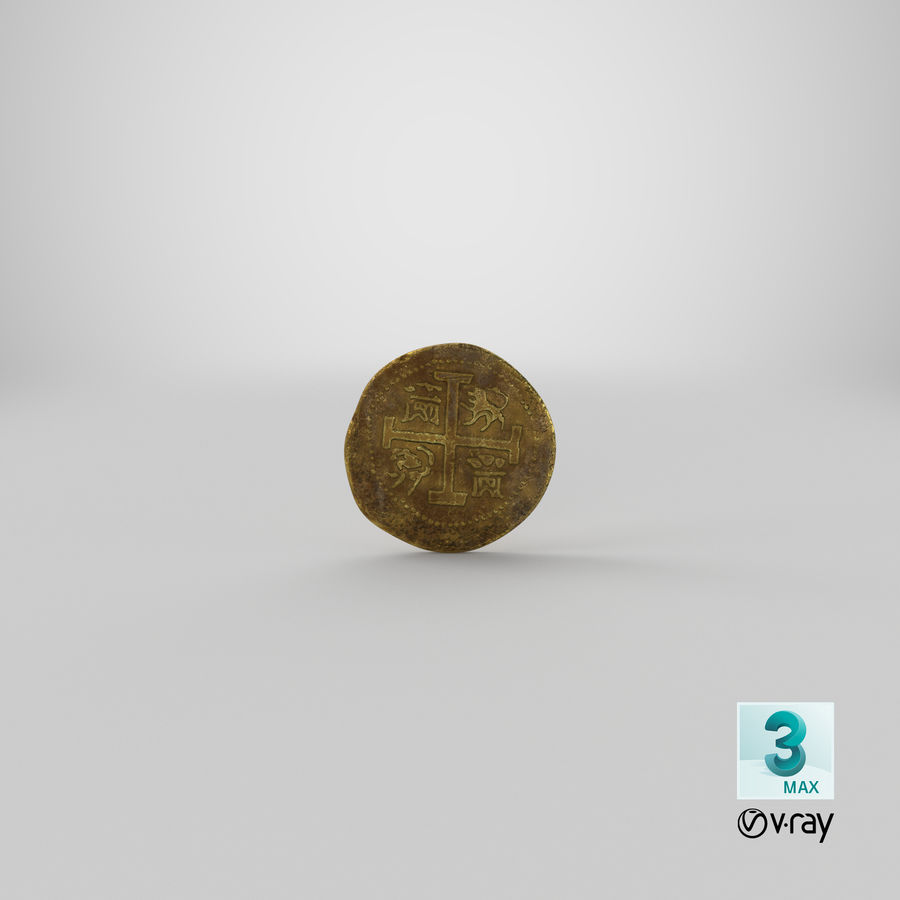 Gold Coins Dirty Pile royalty-free 3d model - Preview no. 21