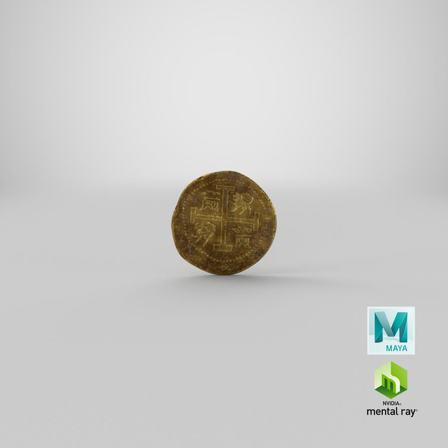 Gold Coins Dirty Pile royalty-free 3d model - Preview no. 20