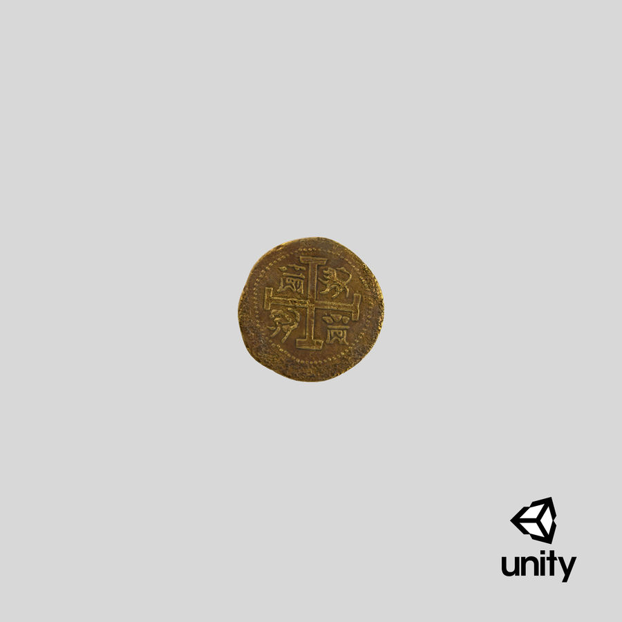 Gold Coins Dirty Pile royalty-free 3d model - Preview no. 25