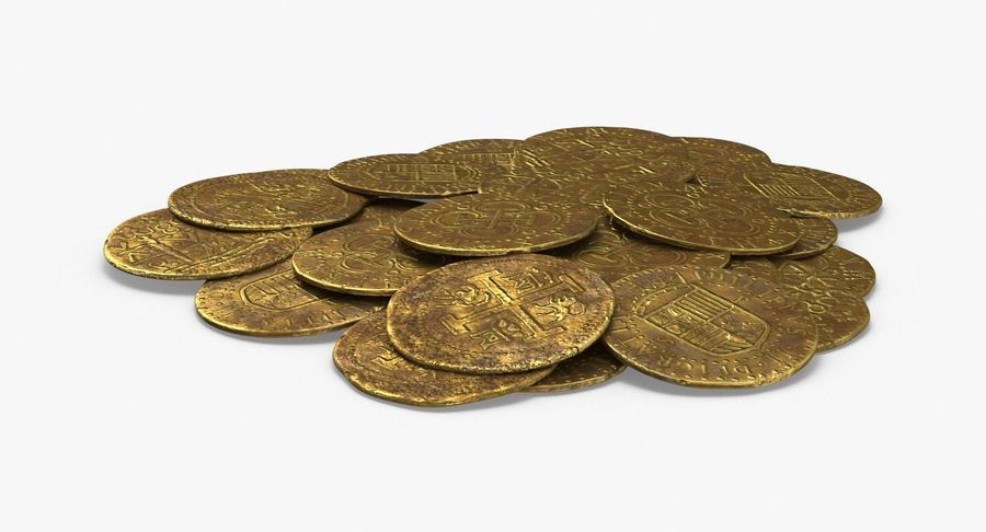 Gold Coins Dirty Pile royalty-free 3d model - Preview no. 2