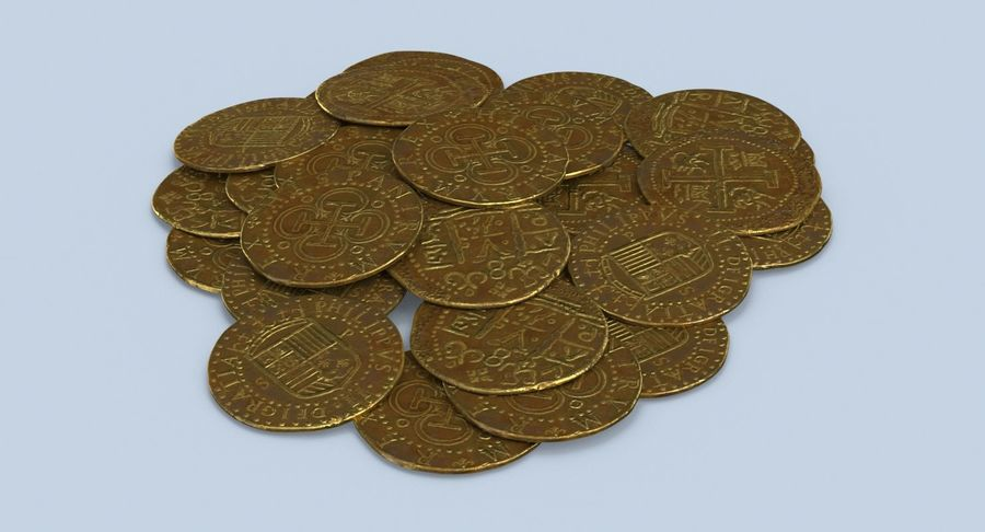 Gold Coins Dirty Pile royalty-free 3d model - Preview no. 6