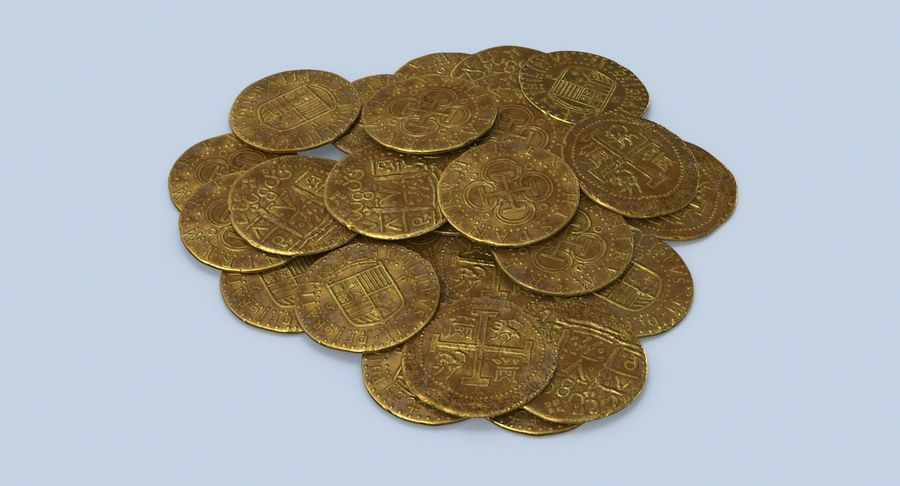 Gold Coins Dirty Pile royalty-free 3d model - Preview no. 4