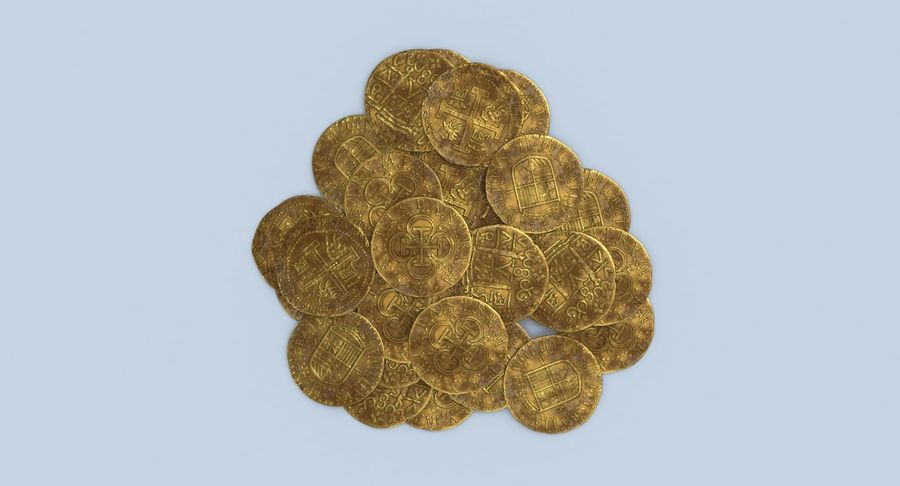 Gold Coins Dirty Pile royalty-free 3d model - Preview no. 5