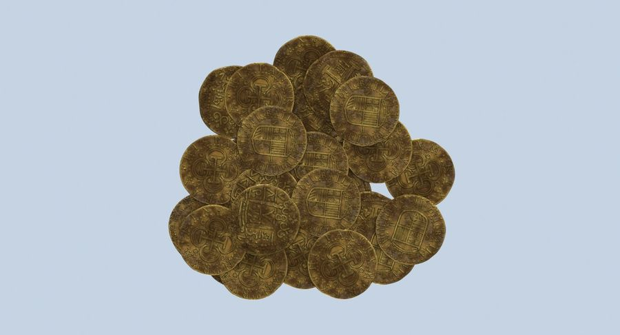Gold Coins Dirty Pile royalty-free 3d model - Preview no. 11