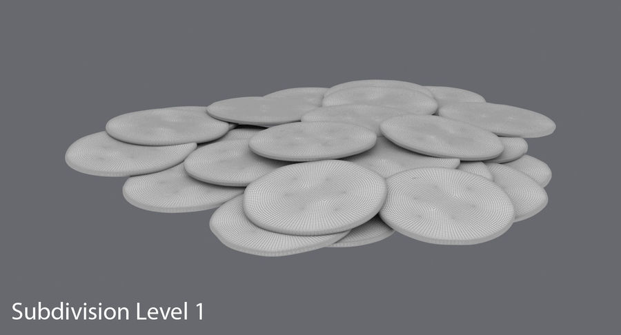 Gold Coins Dirty Pile royalty-free 3d model - Preview no. 15