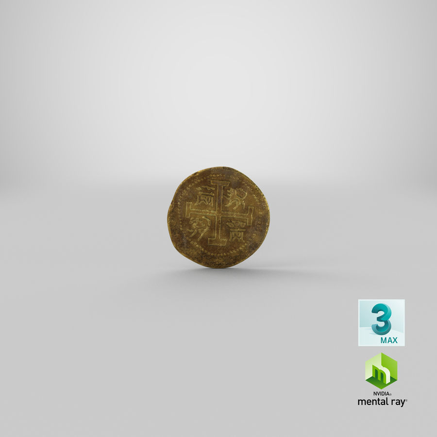 Gold Coins Dirty Pile royalty-free 3d model - Preview no. 22