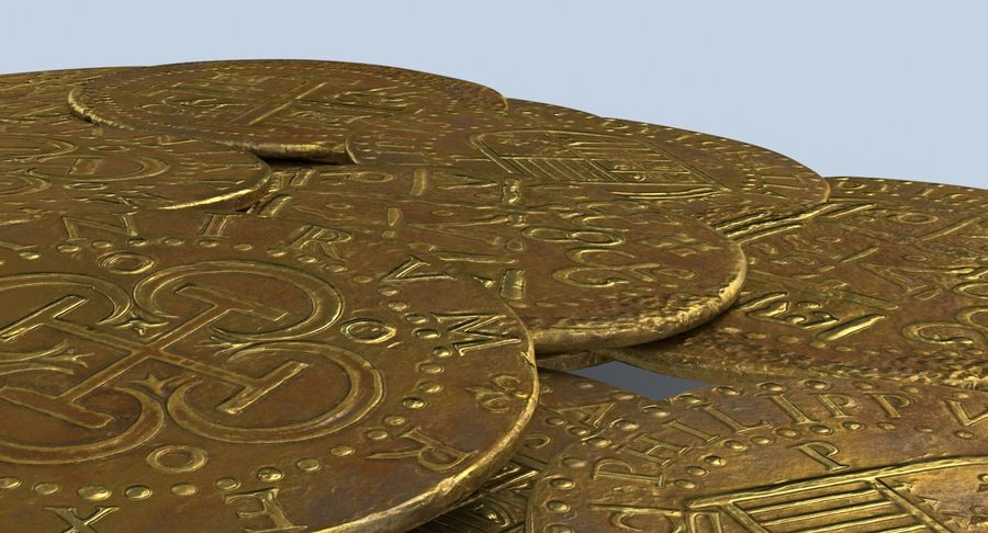 Gold Coins Dirty Pile royalty-free 3d model - Preview no. 9
