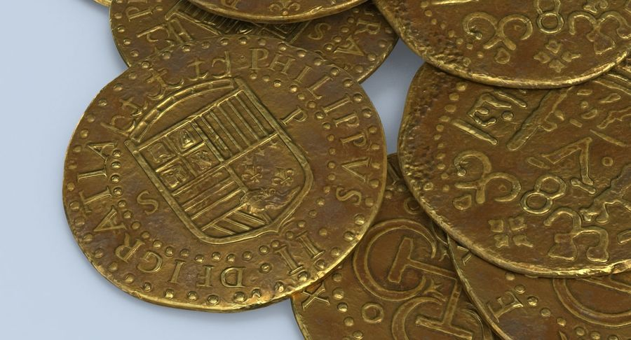 Gold Coins Dirty Pile royalty-free 3d model - Preview no. 10
