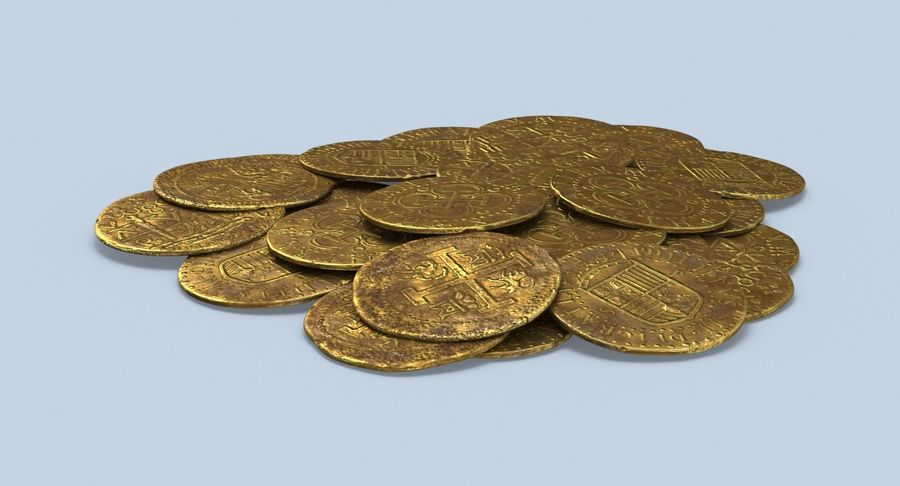 Gold Coins Dirty Pile royalty-free 3d model - Preview no. 3