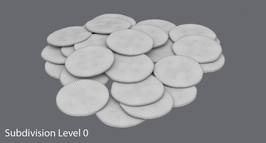 Gold Coins Dirty Pile royalty-free 3d model - Preview no. 14