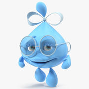 Gota de agua Cartoon Lady Character Rigged Modelo 3D modelo 3d