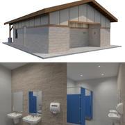 Bagno pubblico Building-002 con interni 3d model