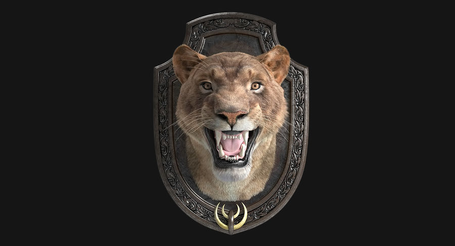 Lion Trophy royalty-free 3d model - Preview no. 3