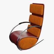 椅子红色皮革 3d model