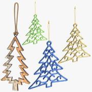 Coleção de ornamentos em forma de árvore 3d model