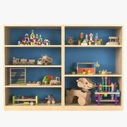 Gabinete de almacenamiento de juguetes con juguetes modelo 3d