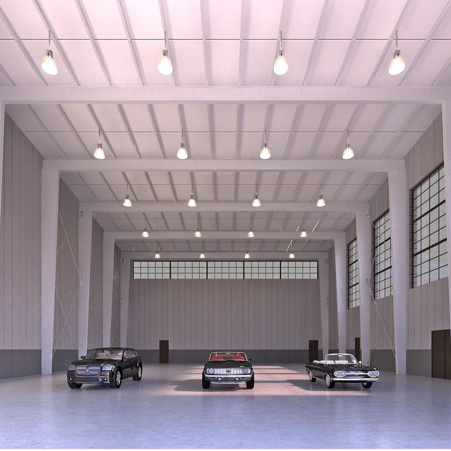 Hangar avec voitures gratuites royalty-free 3d model - Preview no. 3