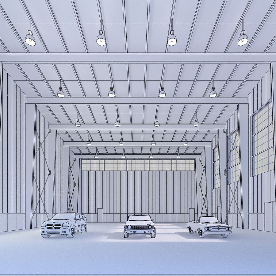 Hangar avec voitures gratuites royalty-free 3d model - Preview no. 4