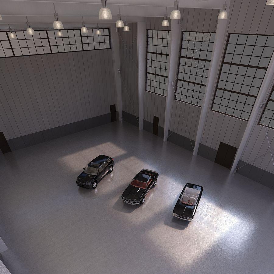 Hangar avec voitures gratuites royalty-free 3d model - Preview no. 5