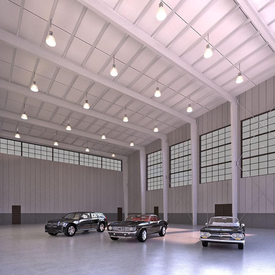 Hangar avec voitures gratuites royalty-free 3d model - Preview no. 1