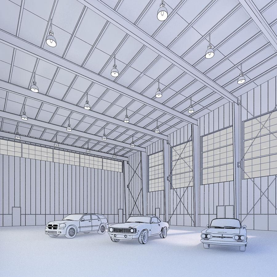Hangar avec voitures gratuites royalty-free 3d model - Preview no. 2