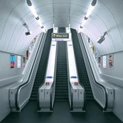 Underground Tube Escalator 3d model