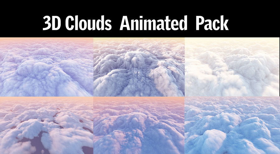 3D Clouds Animated Pack royalty-free 3d model - Preview no. 1