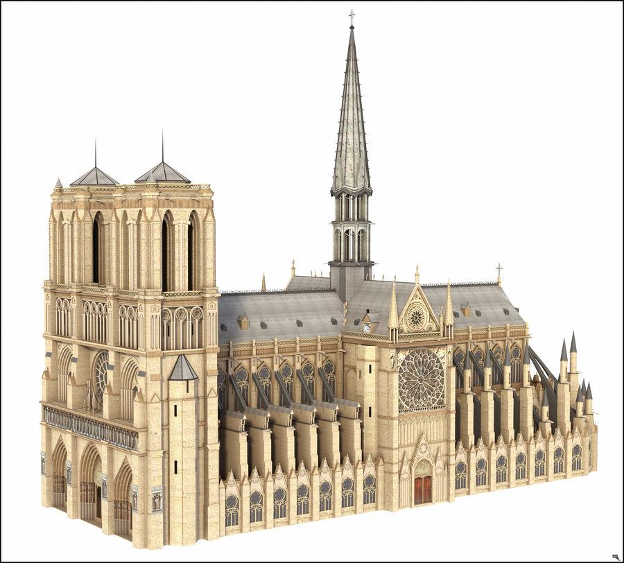 Kathedraal Notre Dame, Parijs. royalty-free 3d model - Preview no. 2
