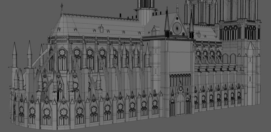 Kathedraal Notre Dame, Parijs. royalty-free 3d model - Preview no. 14