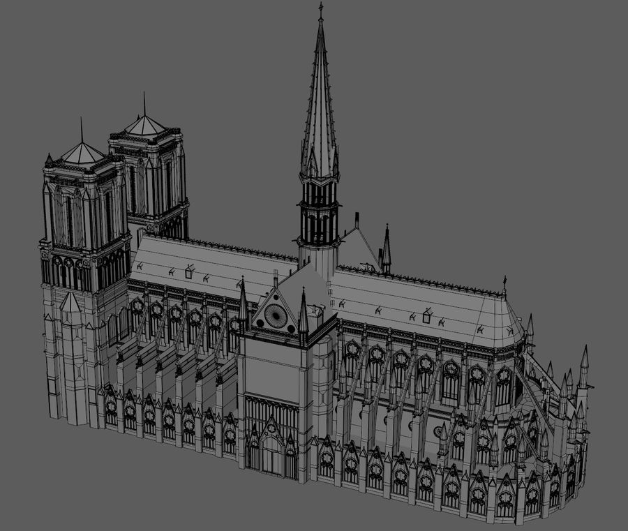 Kathedraal Notre Dame, Parijs. royalty-free 3d model - Preview no. 7