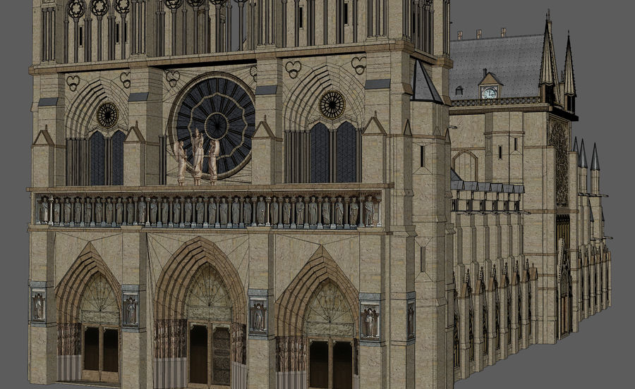 Kathedraal Notre Dame, Parijs. royalty-free 3d model - Preview no. 8
