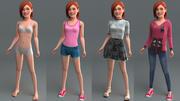 Rigged genç kız 3d model