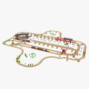 Ferrovia di giocattoli in legno 3d model