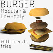 Modular Burger with French fries 3d model