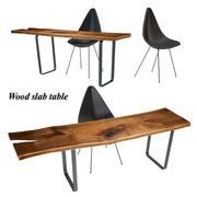 Wood slabs table 3 3d model