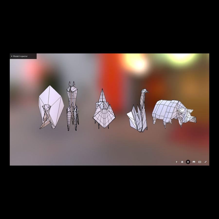 Zestaw prawdziwych zwierząt Origami royalty-free 3d model - Preview no. 1