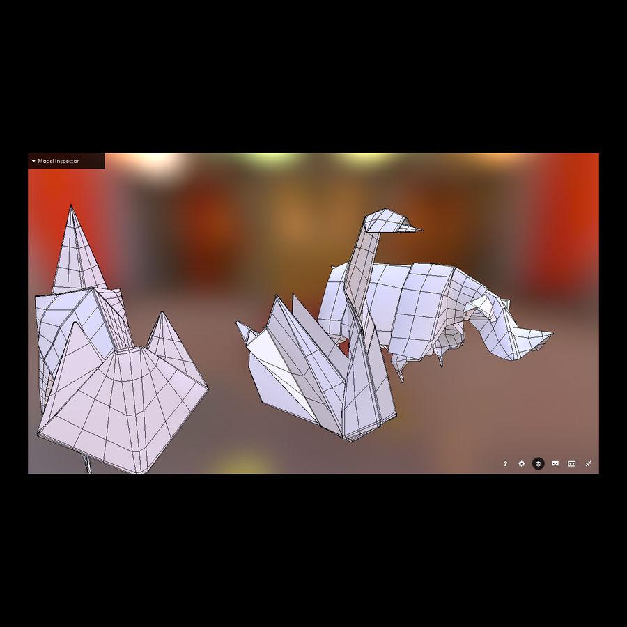 Zestaw prawdziwych zwierząt Origami royalty-free 3d model - Preview no. 5