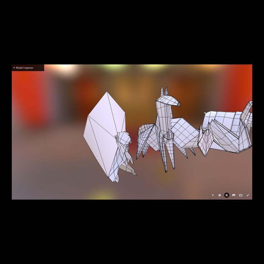 Zestaw prawdziwych zwierząt Origami royalty-free 3d model - Preview no. 3
