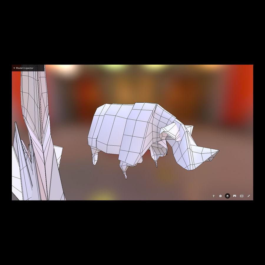 Zestaw prawdziwych zwierząt Origami royalty-free 3d model - Preview no. 6