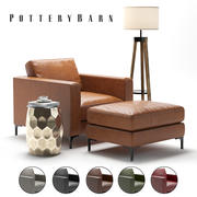 Pottery Barn - Poltrona Jake in pelle 3d model