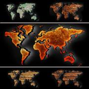 世界地図 3d model