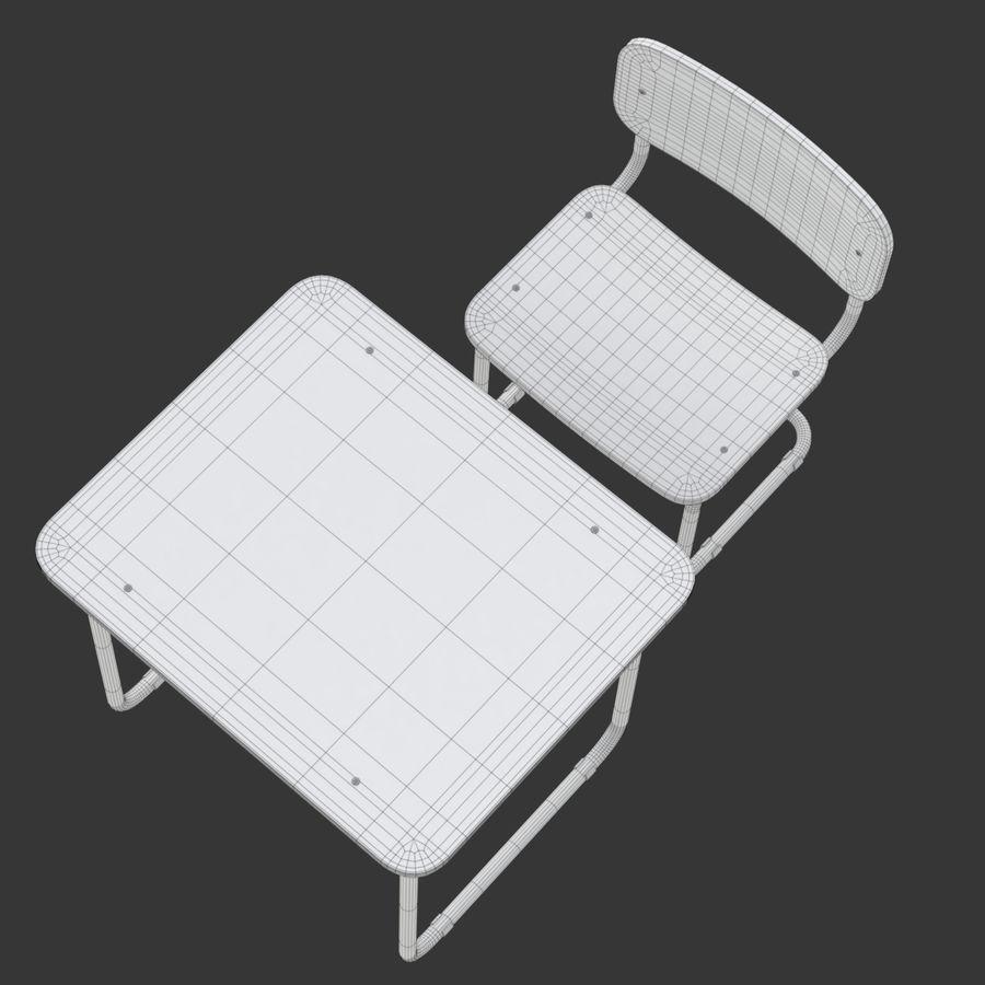 Banco e sedia della scuola royalty-free 3d model - Preview no. 20